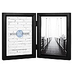 Gallery 5-Inch x 7-Inch 2-Opening Hinged Double Frame in Black