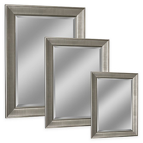 Head west pave wall mirror in brushed nickel bed bath beyond for Bathroom mirrors brushed nickel