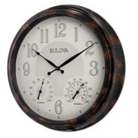 Bulova Weather Mate Indoor/Outdoor Wall Clock in Brown