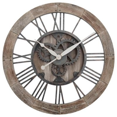 firstime rustic gears wall clock in natural wood