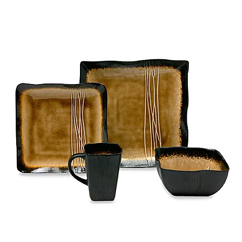 Baum Galaxy 16-Piece Dinnerware Set in Amber - Bed Bath & Beyond