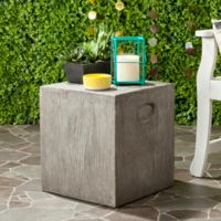 Safavieh Cube Concrete Accent Table in Dark Grey