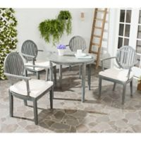 Safavieh Chino 5-Piece Outdoor Dining Set with Cushions in Ash Grey/Beige