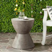 Safavieh Athena Concrete Accent Drum Table in Dark Grey