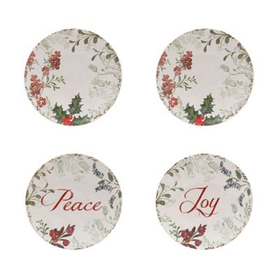 Holiday Wreath Appetizer Plate Set in Ivory/Multi (Set of 4)  sc 1 st  Bed Bath u0026 Beyond & Buy Holiday Dinnerware Sets from Bed Bath u0026 Beyond
