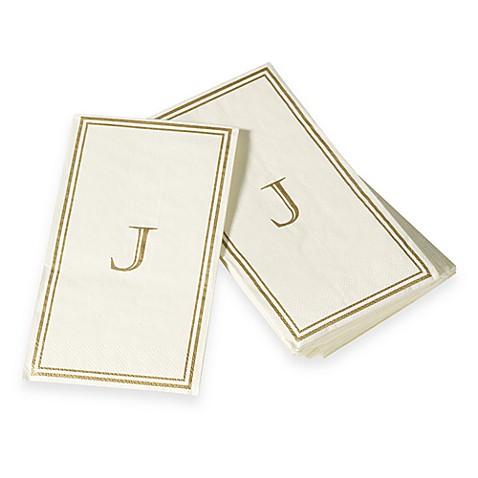 Monogram disposable letter j guest towels bed bath - Disposable guest towels for bathroom ...
