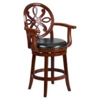 Flash Furniture 26-Inch Wood Counter Stool with Arms in Black/Cherry