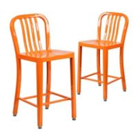 Flash Furniture 24-Inch Metal Stool with Back in Orange (Set of 2)