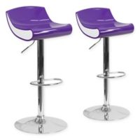 Flash Furniture Adjustable Chrome Pedestal Bar Stool (Set of 2) in Purple/White