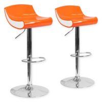 Flash Furniture Adjustable Chrome Pedestal Bar Stool (Set of 2) in Orange/White