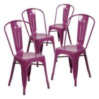 Flash Furniture 33.5-Inch Indoor-Outdoor Metal Chair in Purple (Set of 4)