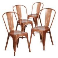Flash Furniture 33.5-Inch Indoor-Outdoor Metal Chair in Copper (Set of 4)