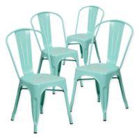Flash Furniture 33.5-Inch Indoor-Outdoor Metal Chair in Mint (Set of 4)