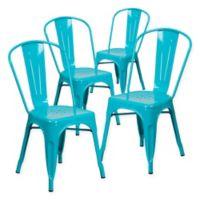Flash Furniture 33.5-Inch Indoor-Outdoor Metal Chair in Blue (Set of 4)