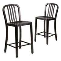 Flash Furniture 24-Inch Metal Stool with Back in Black/Antique Gold (Set of 2)