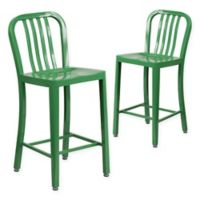 Flash Furniture 24-Inch Metal Stool with Back in Green (Set of 2)