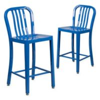 Flash Furniture 24-Inch Metal Stool with Back in Blue (Set of 2)