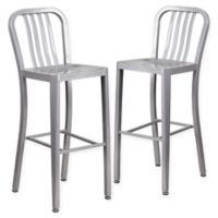 Flash Furniture 30-Inch Metal Stool with Back in Silver (Set of 2)