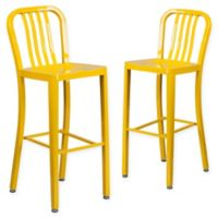 Flash Furniture 30-Inch Metal Stool with Back in Yellow (Set of 2)