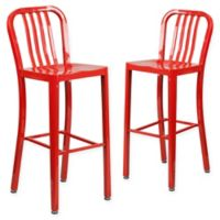 Flash Furniture 30-Inch Metal Stool with Back in Red (Set of 2)