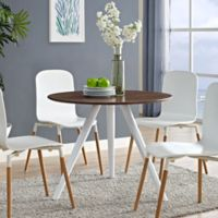 Modway Lippa Tripod Dining Table in Walnut
