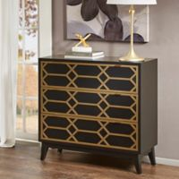 Madison Park Maria 3-Drawer Lattice Accent Chest in Black/Gold