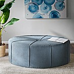 Madison Park Ferris Oval Ottoman in Blue