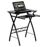 Flash Furniture 29-Inch Clear Tempered Glass Desk in Black