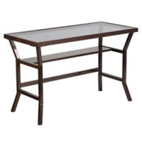 Flash Furniture 29.75-Inch Brown Desk with Grey Tempered Glass