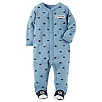 carter's® Size 3M Snap-Up Football Footie Pajamas in Blue