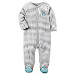 carter's® Size 3M Terry Monster Footie Pajama in Grey Stripe