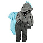 carter's® Size 12M 3-Piece Hooded Dino Jacket, Bodysuit, and Pant Set in Grey Stripe
