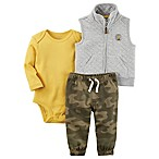 carter's® Size 9M 3-Piece Vest, Bodysuit, and Pant Set in Grey/Camo