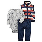 carter's® Size 12M 3-Piece Vest, Bodysuit, and Pant Set in Navy/Cream