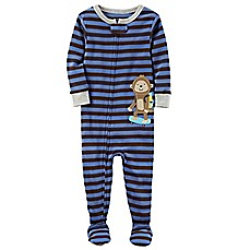 carter's® Monkey Snug-Fit Striped Pajamas in Blue