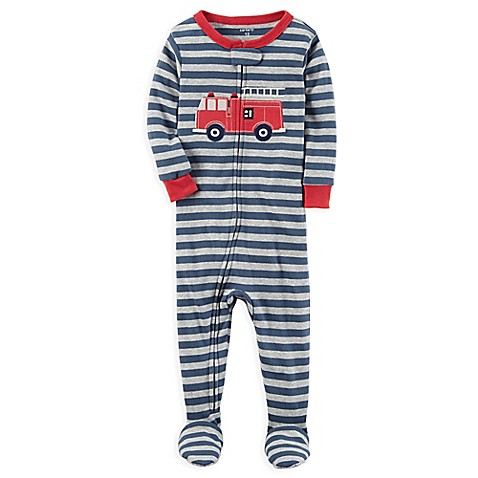 Carter S 174 Fire Truck Snug Fit Striped Pajamas In Grey