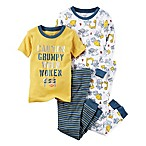 carter's® Size 9M 4-Piece Construction Truck Snug-Fit Striped Pajamas in Yellow
