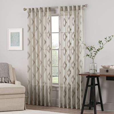 Impress Sheer 84 Inch Rod Pocket Back Tab Window Curtain Panel In Taupe