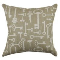 Vesper Lane Mid-Century Sewn Print Square Throw Pillow in Tan