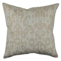 Vesper Lane Modern Ikat Square Throw Pillow in Cream