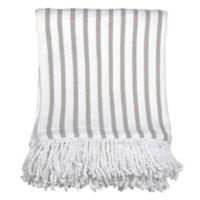 Peri Home Fringe Throw Blanket in Grey