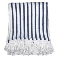 Peri Home Fringe Throw Blanket in Navy