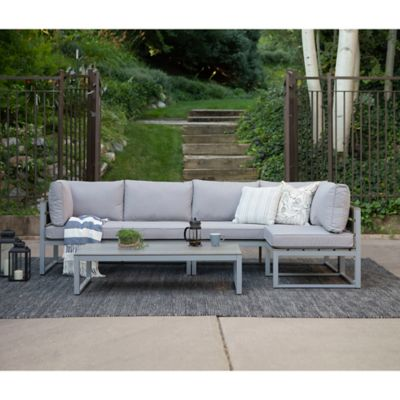 Walker Edison Modern 4 Piece Outdoor Patio Conversation Set In Grey