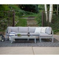 Forest Gate Modern 4 Piece Outdoor Patio Conversation Set In Grey
