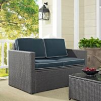 Crosley Palm Harbor Outdoor Grey Wicker Loveseat with Cushions in Navy