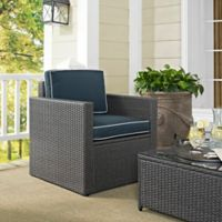 Crosley Palm Harbor Outdoor Grey Wicker Arm Chair with Cushion in Navy