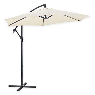 Walker Edison Cantilever 9 Foot Patio Umbrella In Tan