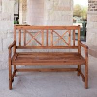 """Forest Gate Aspen Acacia Wood 48"""" Outdoor Folding Bench in Brown"""