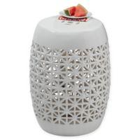 Pierced Ceramic Stool in White