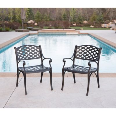 Walker Edison Cast Aluminum Outdoor Chairs In Brown (Set Of 2)